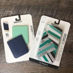 iPhone X Case/Stick on Wallet Bundle NEW